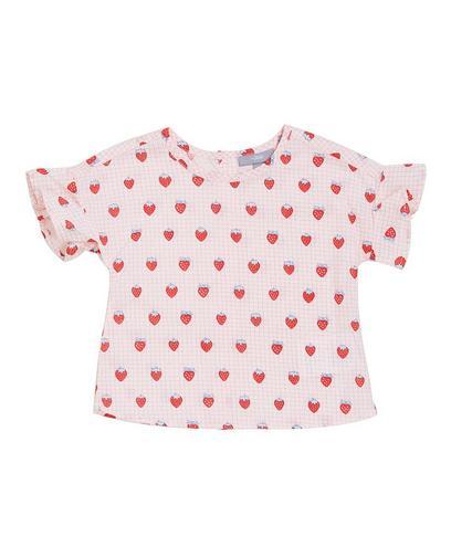 Lichtroze geruite blouse